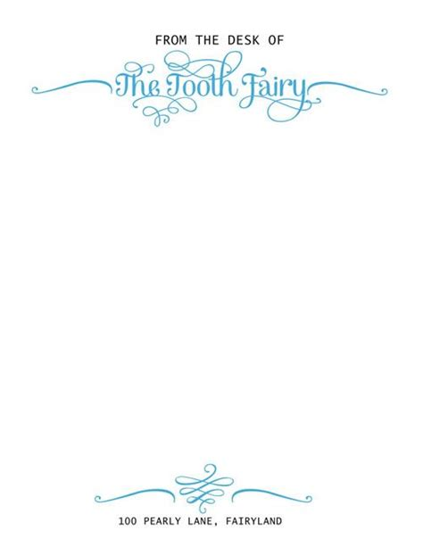 tooth fairy official letterhead designed by sassy