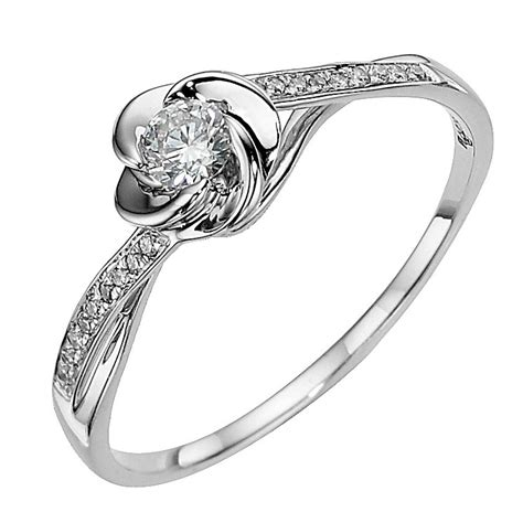 9ct white gold flower 0 20ct solitaire ring