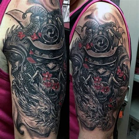 tattoo reference pictures samurai mask and dragon dark shaded half sleeve tattoo for