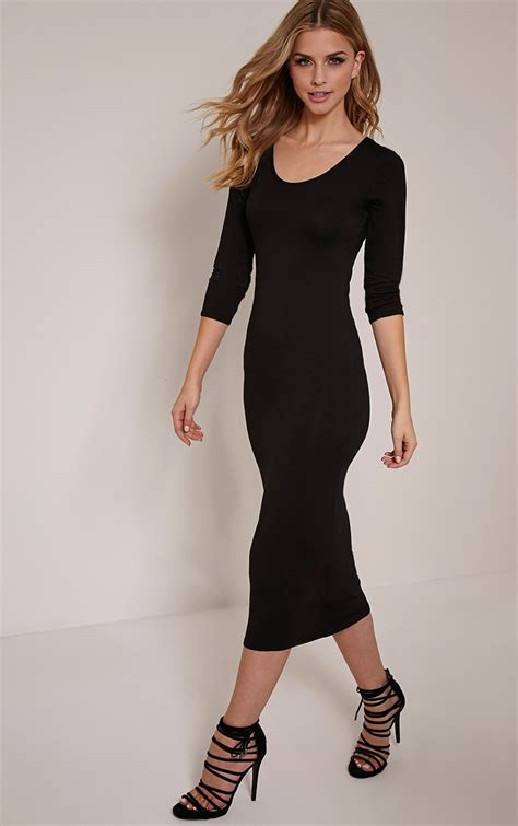 Basic Black basic black sleeve midi dress dresses