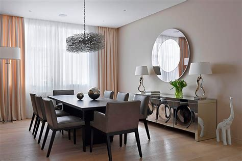 dining room flat and layered circle wall mirror dining room idea accentuate wall decor for