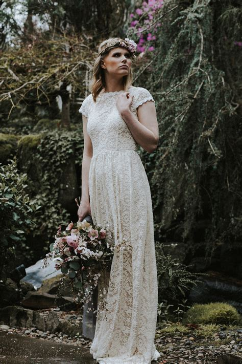 Simple Lace Low Back Wedding Dress   Dreamers and Lovers