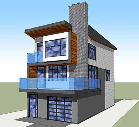 narrow lot contemporary home plan
