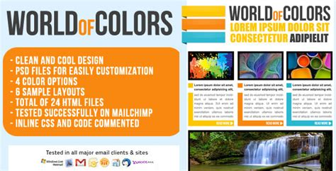 World Of Colors Email Template Newsletter By Chragency Themeforest Colorful Email Templates