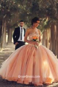 Custom Wedding Dress by Sequins Beaded Strapless Unique Peach Colored Ball Gown
