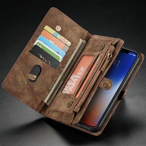 retro handmade leather for iphone xs max xr wallet magnetic back cover card slots for