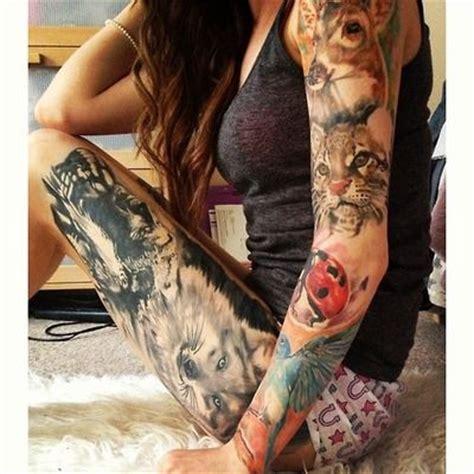 animal tattoo on leg love the leg piece sleeve animals portrait thigh tattoo