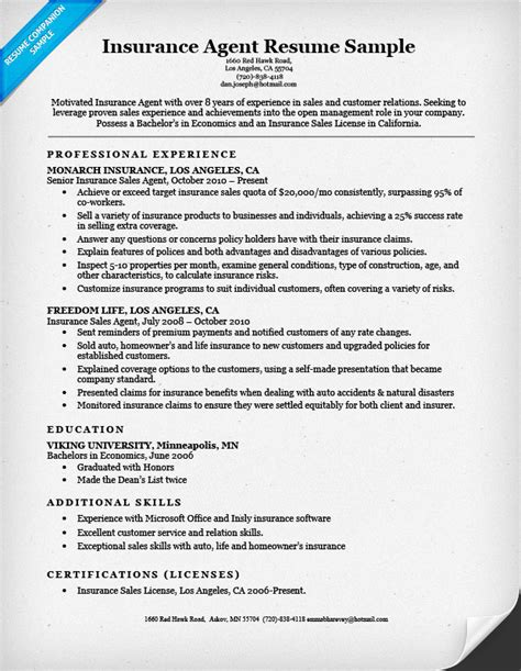 Insurance Broker Resume by Insurance Resume Sle Resume Companion