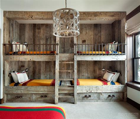 rustic country bunk room features built in barnwood bunk