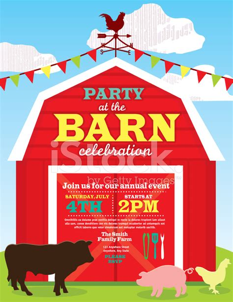 barn and farm animal invitation design template