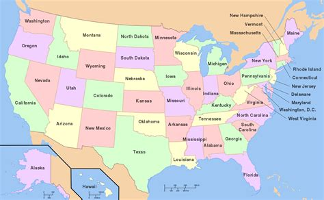 map of te united states map of the united states of america with state names