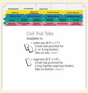 trial notebook template civil trial index tabs letter size