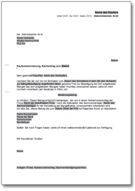 Vorlage Antrag Wertminderung Minderung Gegen 252 Ber Verk 228 Ufer De Musterbrief
