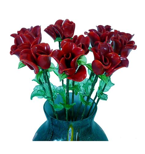 fiori vetro fiore da vaso bocciolo in pasta di vetro colorata