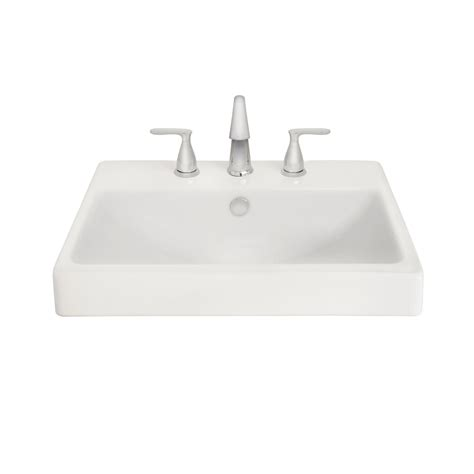 aquasource bathroom sink shop aquasource white fire clay drop in rectangular bathroom sink with overflow at