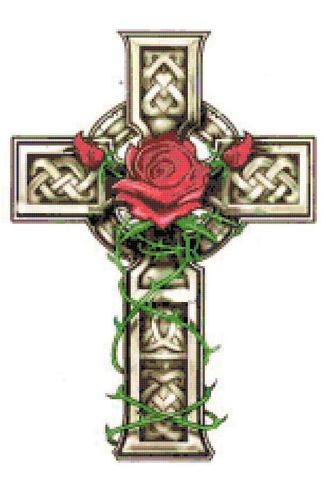 celtic cross with rose and vines cross stitch pattern