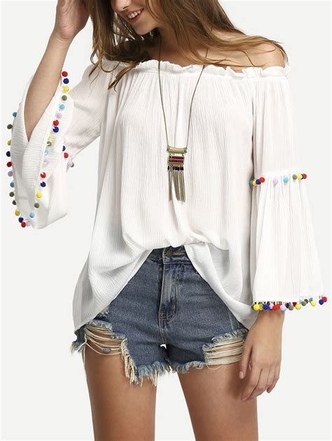 the shoulder colored pompom trim blouse shein sheinside