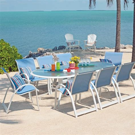 aruba patio furniture aruba ii sling dining collection by telescope casual