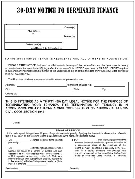 serving notice to tenants template california 30 day notice to terminate tenancy evictme