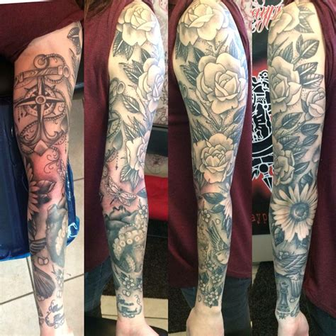 black rose sleeve tattoo black and grey s sleeve
