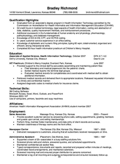 Health Information Services Resume health information technology resume sle http