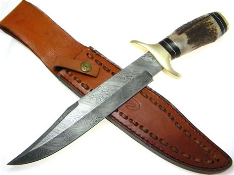 stag horn knife damascus stag horn handle fixed blade bowie knife ebay