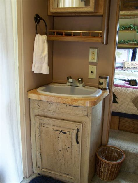 rv bathroom cabinet cer remodel painted bath cabinet and counter top for