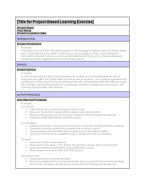 Project Based Learning Exle Exercise Project Based Lesson Plan Template