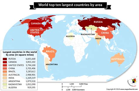 largest countries   world  area answers