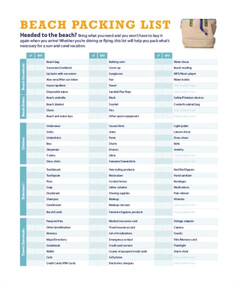 travel packing list 10 free word pdf psd documents