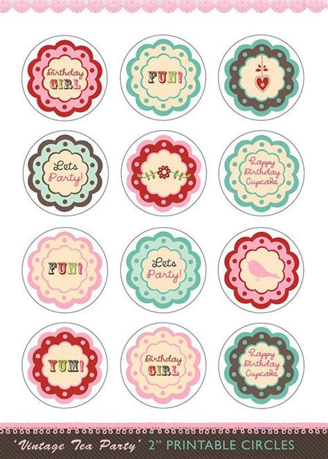 printable party toppers diy printable birthday cupcake toppers vintage tea party