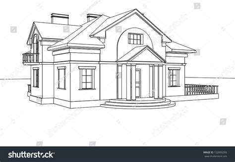 Drawing With 3d House Stock Illustration Image Of | drawing sketch house stock illustration 152890295