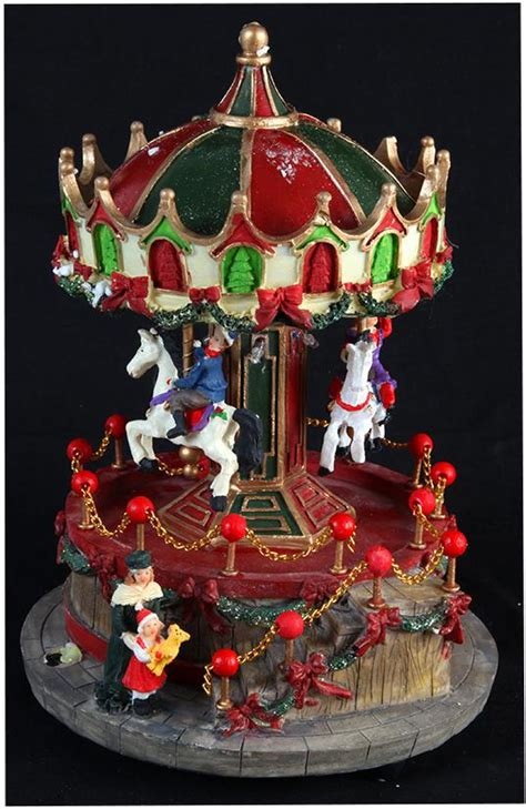 traditional xmas model revolving carousel 23cm led
