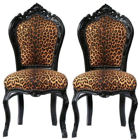 Leopard Print Dining Chairs Of Beautiful Leopard Print Solid Wood Crafted Dining Room Chairs Luxury Shop