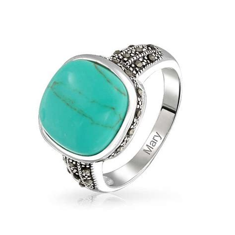 Vintage Style Marcasite Square Turquoise Ring Gemstone 925