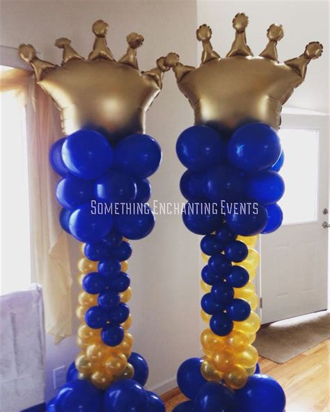 Balloon Tower For Baby Shower by Gold And Royal Blue Crown Balloon Columns Royal Crowns