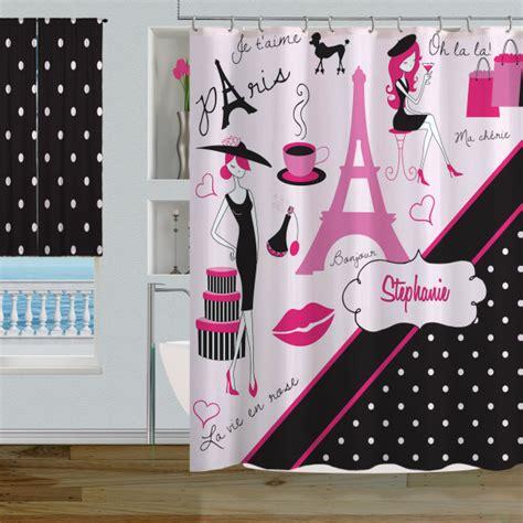 paris polka dot themed bathroom decor pink amp black paris