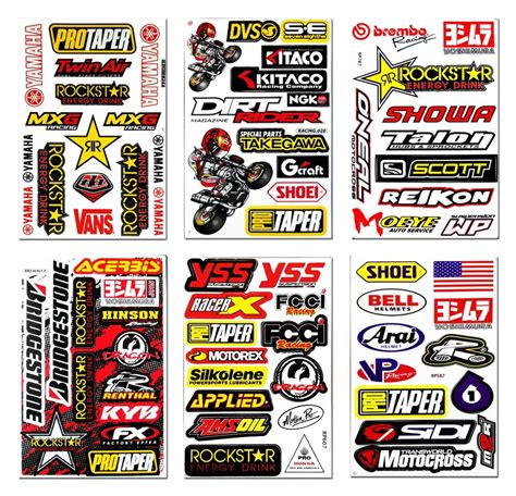Big Racing Bike Aufkleber by 6x Racing Sponsor Logo Stickers Motocross Motorcycle Super
