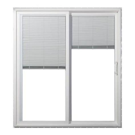 Mini Blinds For Patio Doors Jeld Wen 72 In X 80 In Right Premium Vinyl Sliding Patio Door With Tilt And Raise Mini
