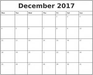 december 2017 printable monthly calendar