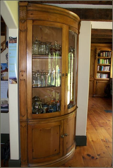 Oak Curio Cabinets With Curved Glass   Cabinet #50238