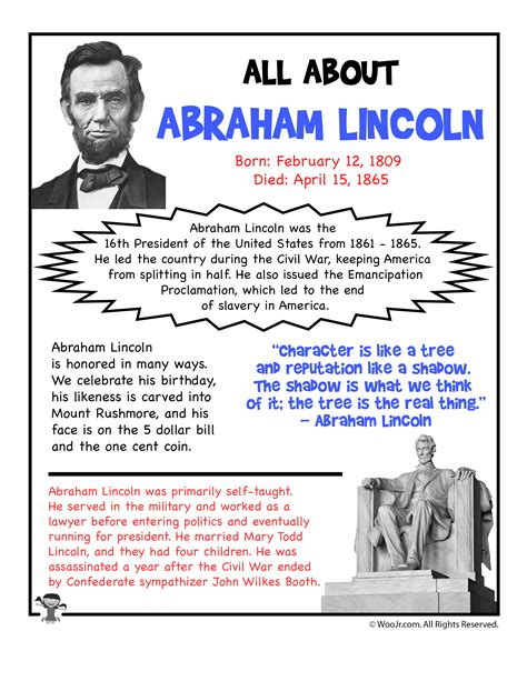 abraham lincoln facts for abraham lincoln fact sheet printable woo jr