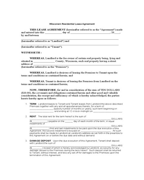 printable lease agreement wisconsin wisconsin standard residential lease agreement edit