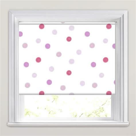 red patterned roller blinds pink red lilac beige white spots patterned blackout