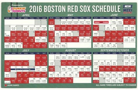 april 11 2016 boston sox magnet schedule