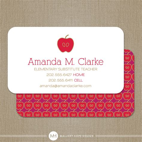 business cards for teachers templates free business card or substitute by