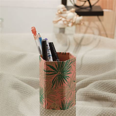 Handmade Pen Stand Designs - ethnic design handmade recycled paper pen holder 02