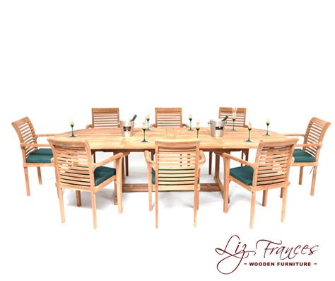 8 Seater Oval Dining Table 8 Seater Oval Teak Dining Set With Extendable Table By Liz Frances 163 899 99