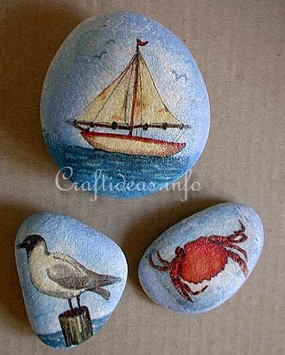 Decoupage Rocks - tutorial create maritime themed rocks by decoupaging them