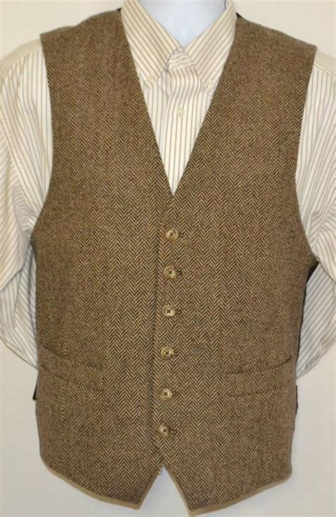 Handmade Vests - mens vest herringbone in wool tweed 100 acetate lined